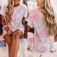 2020 new casual tie-dye printing long T-shirt top