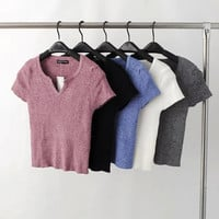 Solid Cropped Knitted Stretch T-shirts - White/Grey/Blue/Black/Pink