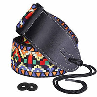 """Guitar Strap, XIXOV 2"""" Retro Hootenanny Style Woven Braided Adjustable Electric Guitar Strap with tie, Leather Ends Bass Strap- Bouns Srtap Locks"""