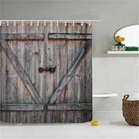 American Country Style Polyester Shower Curtain Old Bronze Wooden Garage Door Vintage Rustic Shower Curtain Bathroom Decor Art