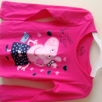 Peppa Pig With The Bag:Love To Shop Long Sleeve T-Shirt - Girls Size:6