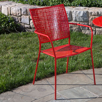 Set of 2 - Steel Outdoor Stackable Dining Arm Chair in Red Cherry