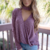 Deja Vu Wine Long Sleeve Choker Top with Surplice Detail