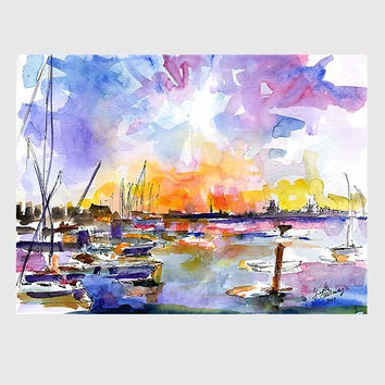 Patriots Point Mt Pleasant Marina Sunset Charleston SC Original Watercolor by Ginette Callaway