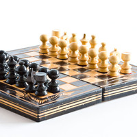Vintage Chess Set, Wooden Board Game, Chess Game, Wooden Box, Gift For Kids, Black Dark Brown, ohtteam