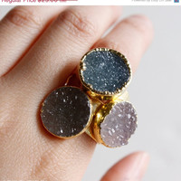 SALE Bohemian Chic Druzy Quartz Rings - Choose Your Stone - Round Druzy Rings, Adjustable
