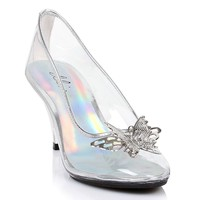 Ellie Shoes E-305-Cinder 3 Heel Clear Pump With Butterfly