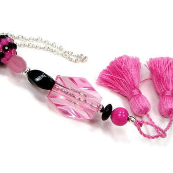 Scissor Fob, Pink, Black, Sparkle, Quilting, Sewing, Cross Stitch, Beaded, Gift for Crafter, DIY Crafts, TJBdesigns