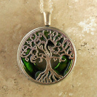 tree of life necklace: green - wiccan pendant - celtic jewelry - tree necklace - earthy jewelry - unique jewelry - spiritual jewelry