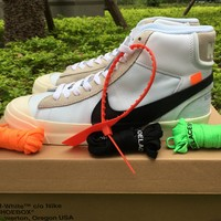 Best Online Sale Off White x Nike Blazer Studio Mid OW Sail / White Muslin Sport Shoes  AA3832 100