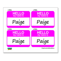 Paige Hello My Name Is - Sheet of 4 Stickers