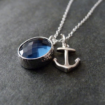Sea glass jewelry, Anchor necklace, STERLING SILVER, Beach wedding, Ocean jewelry, Glass Necklace, Anchor Jewelry
