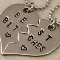 Best Bitches Necklaces - BFF Split Heart Jewelry, Best Bitches Jewelry - Hand Stamped Best Friend Necklaces -  Stainless Steel