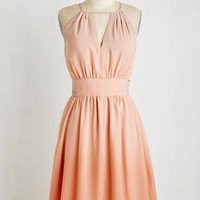 Pastel Sleeveless A-line In Gradient Demand Dress in Peach by ModCloth