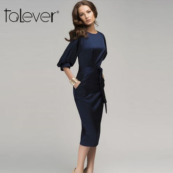 2016 New Style Autumn Women Half Sleeve Dress Elegant Pinup Ruched Business Formal Vestidos Casual Bodycon Blue Chiffon Dresses