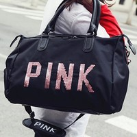 VS PINK new brightly-lettered short-distance travel bag carries a bulky gym bag called Oxford cloth