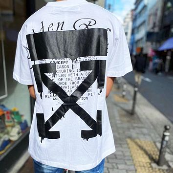 OFF WHITE Summer Women Men Casual Print Short Sleeve T-Shirt Top Blouse