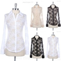 Full Floral Lace Long Sleeve Button Down Shirt Top Casual Unique Stylish Span