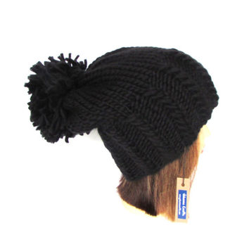 Slouchy beanie hat black slouch hat chunky knit slouchy hat Irish knit accessory for women with large pompom fun hat wool Johanna Crafts