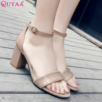 QUTAA 2017 Women Sandal Square High Heel PU Patent Leather Women Shoes Ankle Strap Black Ladies Wedding Shoes Size 34-43