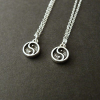 Set of 2, Best friend necklace, Gift for best friend, Yin Yang necklace, Best friend, Best friend birthday gift, Sterling Silver