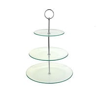 Three Tiered Glass Treat Stand, Clear, 13-1/4-Inch