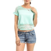 Curved Hem Laced Tee in Mint
