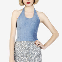 After Party Faux Suede Halter - Corn Flower