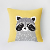 "Iosis for Yves Delorme Jo Racoon Decorative Pillow, 18"" x 18"""