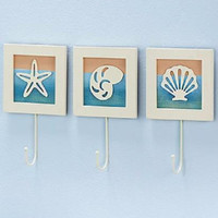 Beach Ocean Shell Decor Wall Hook Hanger Towel Rack Bathroom Pastel Wooden NEW