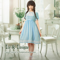 Ice & Insigne, Sailor Lolita Solid Color Short Sleeves OP/Dress*Adult Version*2colors Instant Shipping