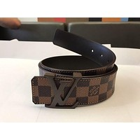 Bunchsun Louis Vuitton Stylish Men Women LV Letter Smooth Buckle Coffee Plaid Leather Belt I/A