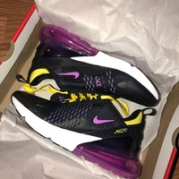 NIKE Air Max 270 Women Fashion Contrast Sneakers B-CSXY / B-CQ-YDX  Black&Purple