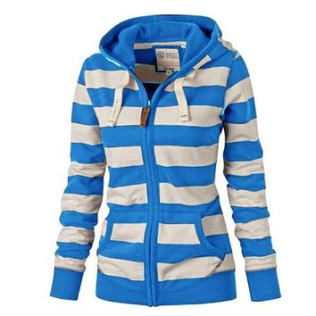 US Stock! Hoodies Plus Size Long sleeve striped sweater