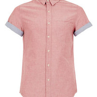 LIGHT RED CONTRAST SHORT SLEEVE OXFORD SHIRT - Men's Shirts  - Clothing