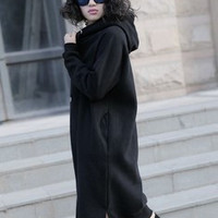 Women Long Hoodies woman winter clothing  hooded long dresses sweatshirt leisure loose fleece female turtleneck dress tide