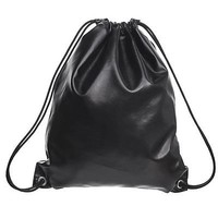 Women Fashion PU Leather Faux Casual Small Travel Drawstring Purse Bag Backpack