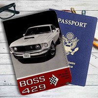 Ford Mustang Boss 429 1969 Leather Passport Wallet Case Cover