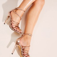 Ankle Strap Strappy Rose Gold Stiletto Heels