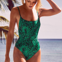 Green Printed One Piece Swimsuit