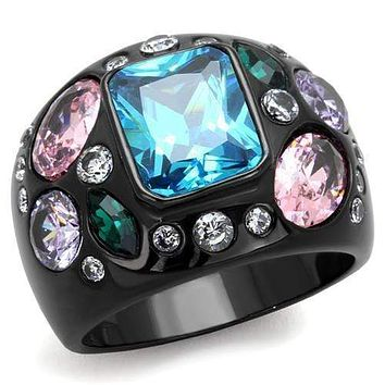 Unique Engagement Rings TK1790 Black - Stainless Steel Ring with CZ