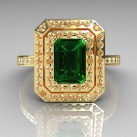 Royal 18K Yellow Gold 1.0 CT Emerald Cut Emerald Pave Diamond Double Halo Ring R83-18YGDEM