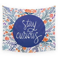 Society6 Stay Curious - Navy & Coral Wall Tapestry