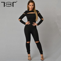 2016 New Style Summer Rompers Women Jumpsuit Plus Size Solid Black Bodysuits Long Sleeve Skinny Bodycon Zipper Jumpsuits XD501