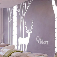 Removable Vinyl Birch Forest Tree Wall Decal Wall Art Birch Wall Sticker - Deer in the birch forest by CustomWallDecal
