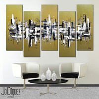 """Original abstract painting. 41x64"""" 5 piece canvas art. Large painting. Metallic gold painting. Modern wall art with black and white."""