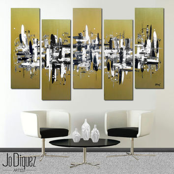 "Original abstract painting. 41x64"" 5 piece canvas art. Large painting. Metallic gold painting. Modern wall art with black and white."