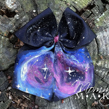 Orion's Nebula, hair bow, hairbow, painted bow, wearable art, photo prop, photo shoot, outer space, space bow, nerdy, geeky