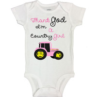 Thank God I'm A Country Girl - Funny Kids Onesuits and Shirts