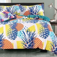 Brocade Pineapple and Colorful Polka Dots Luxury 4-Piece Cotton Bedding Sets